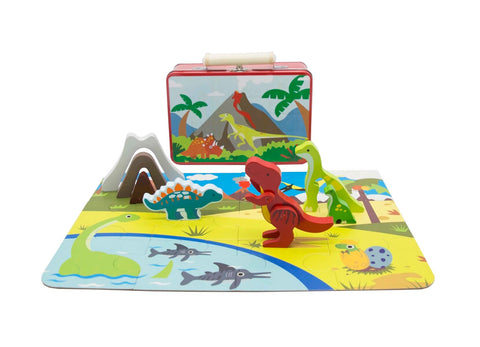 Dinosaur playset in carry case