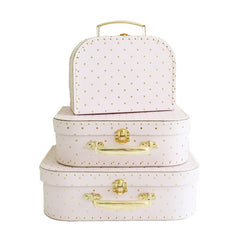 Nesting Suitcases - pink & gold