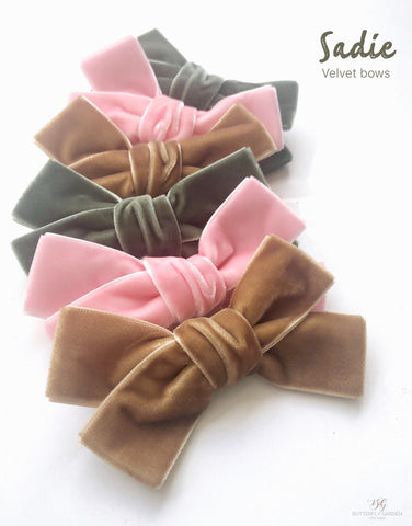 Sadie velvet bows- 3 colours to choose from!