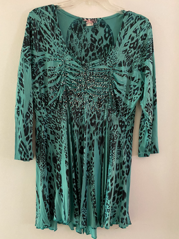 Mint Green Leopard Empire waist Tunic size 1X/2X