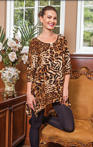 Cover Charge Leopard Jewel Tunic Size Medium