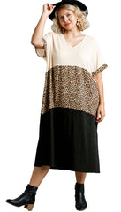 Animal Print Colorblock Short Sleeve Maxi Dress with Side Slits