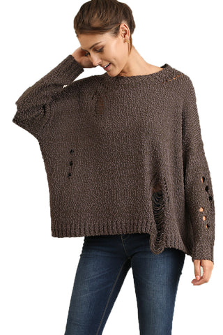 Ash Brown Distressed Sweater Size L