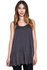 Umgee Women's Ash Lace Trimmed Tank Top