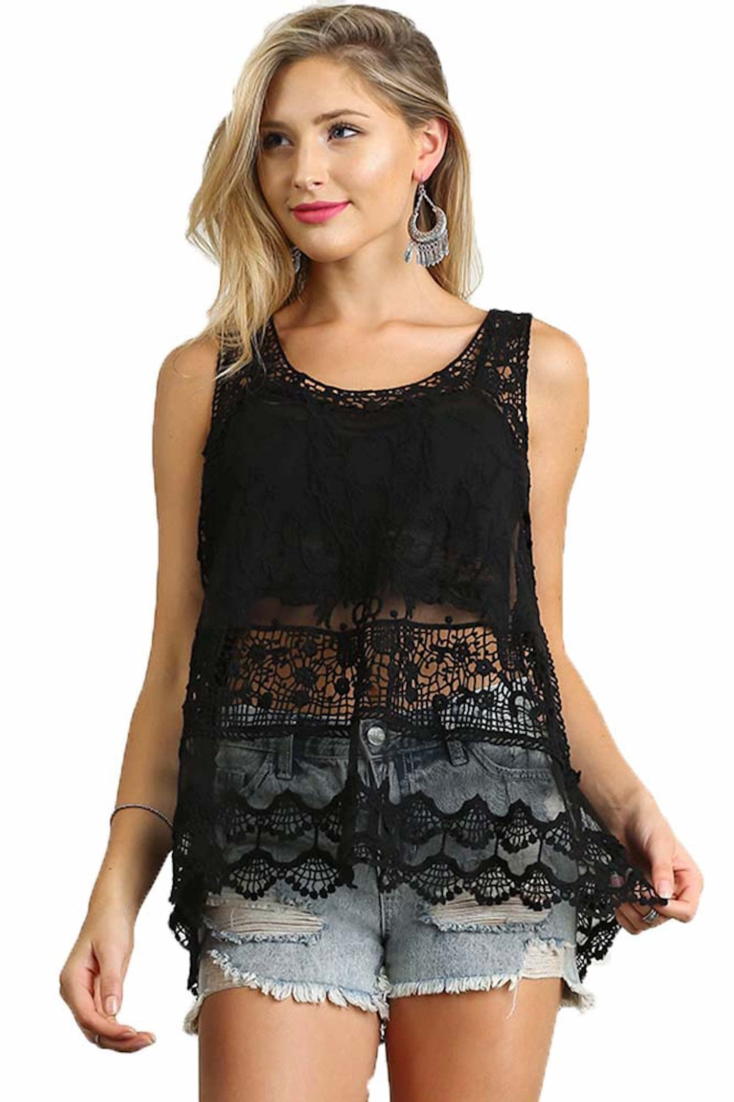 Umgee Women's Black Sheer Lace Mesh Racerback Tank Top