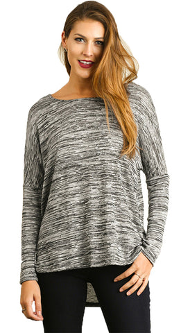 BW Marled Oversize dolman sleeve Top with High-low hem