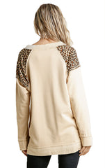 Beige French Terry Animal Print Raw Edged Detail Tunic Top with Side Slits Zipper