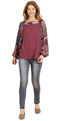 Created Umgee Women's Berry Waffle Knit Top with Floral Print Puff Sleeves