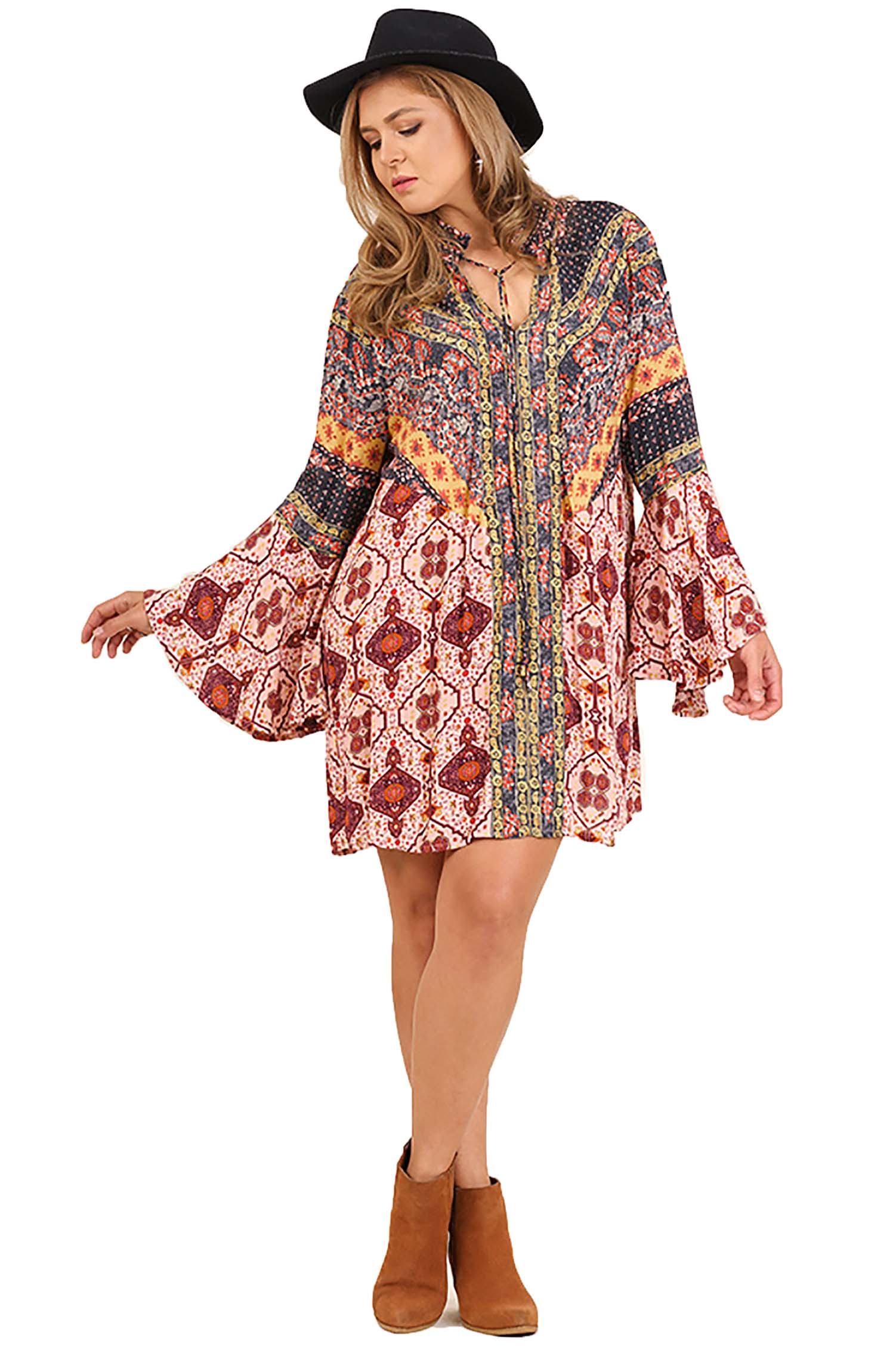 Berry Multi-Print Trumpet Sleeve Dress