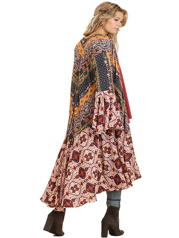 Berry Ruffled Long Body Kimono with a Multicolored Print