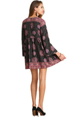 Umgee Womens Black Multi Bohemian Dress with pom pom details Size 2X