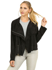 Black Faux Suede Zip Up Moto Jacket.