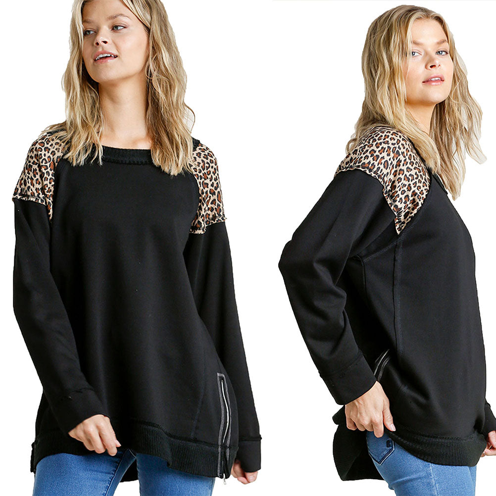Black French Terry Animal Print Raw Edged Detail Tunic Top with Side Slits Zipper