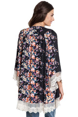 Umgee Black Floral Bomb Kimono with Lace Border
