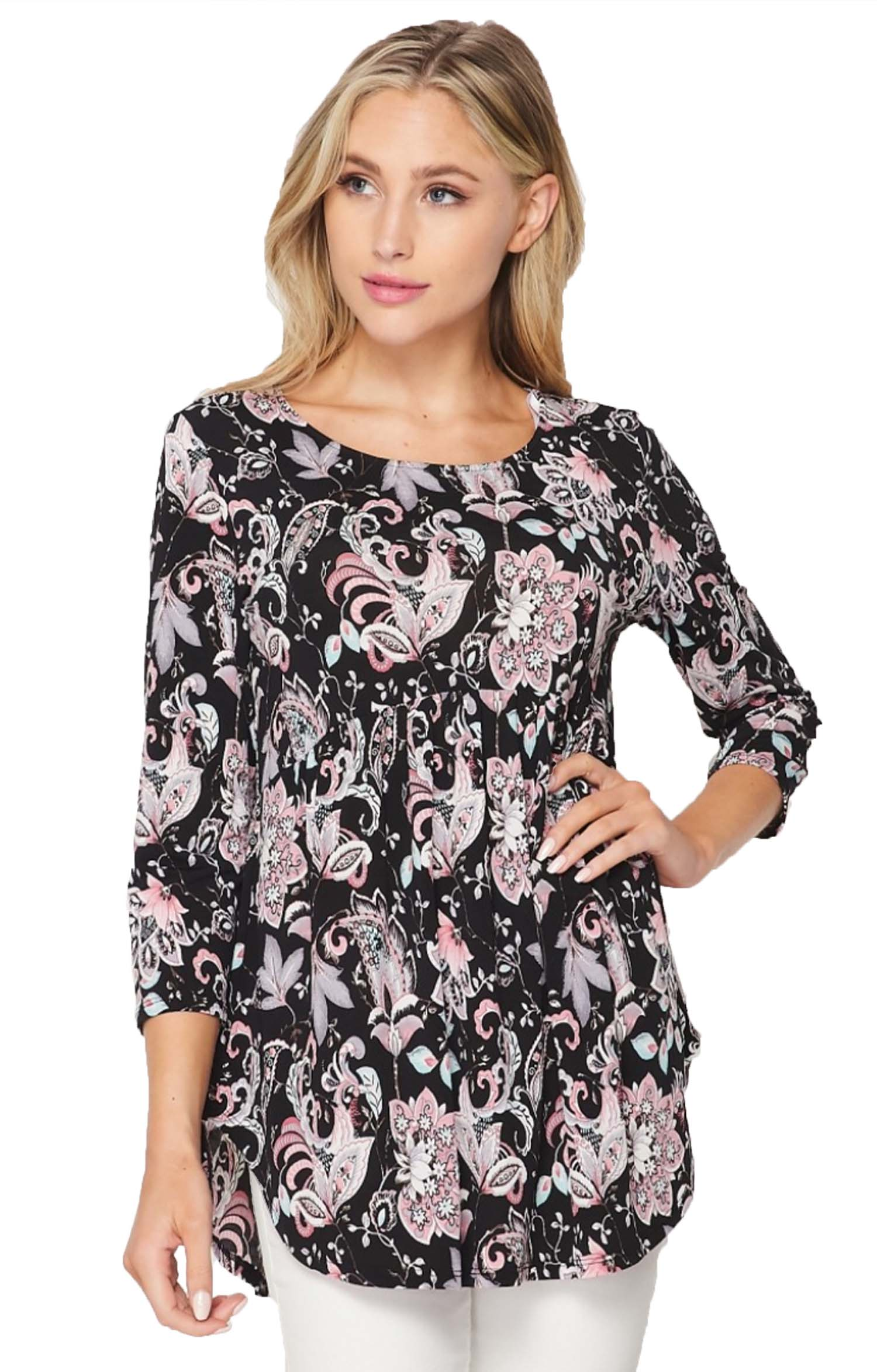 Black Floral Empire Waist Tunic