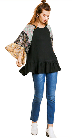 Black Floral Paisley Mixed Print Bell Sleeve Waffle Knit Top with Ruffle Trim