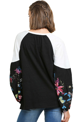 Black Spring Cotton Top with Floral Print Puff Sleeves