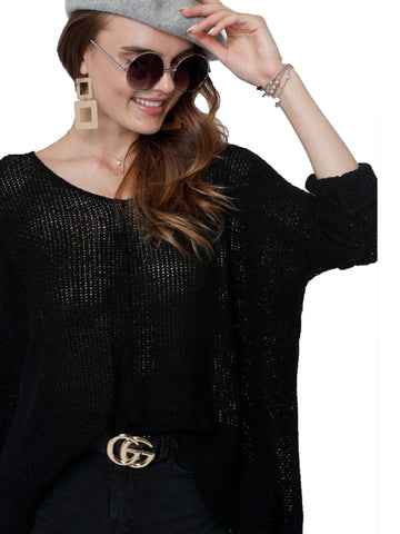 Black Oversize Tunic Lightweight  Sweater