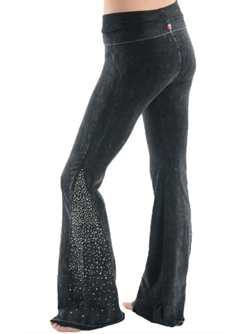 Black Rhinstone Bell Bottom Leggings
