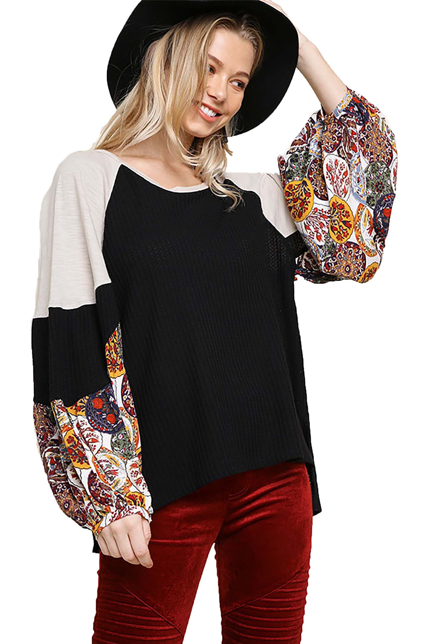 Umgee Women's BLACK Waffle Knit Top with Floral Print Puff Sleeves