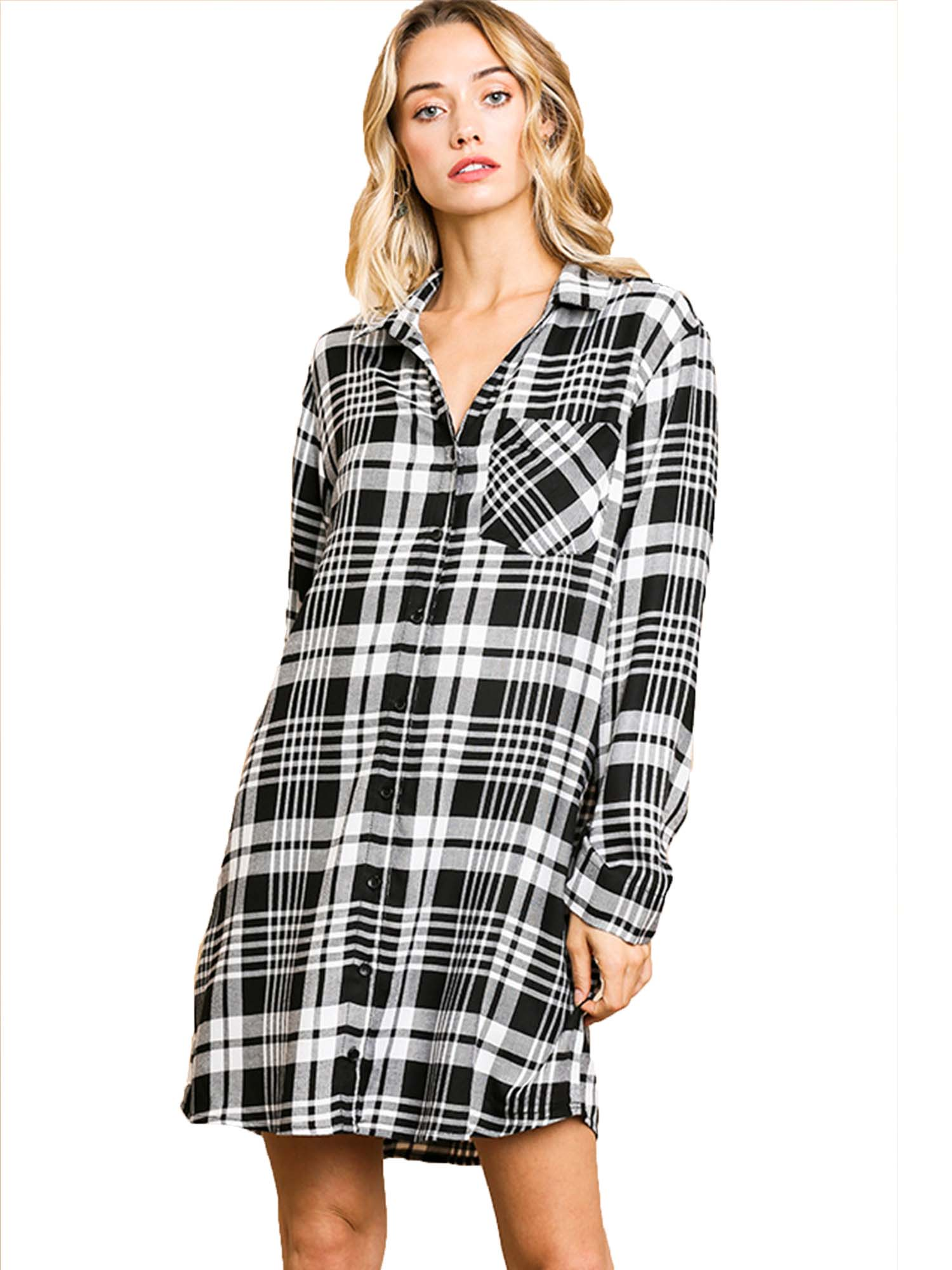 Black White Flannel Plaid Print Long Sleeve Button Front Dress Tunic
