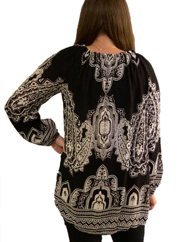 Black and White Cold Shoulder Peasant Top
