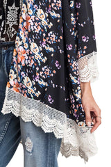 Umgee Black Floral Kimono with Lace Border in Regular and Plus