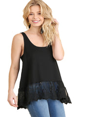Umgee Black Lace Bottom Ribbed Tank