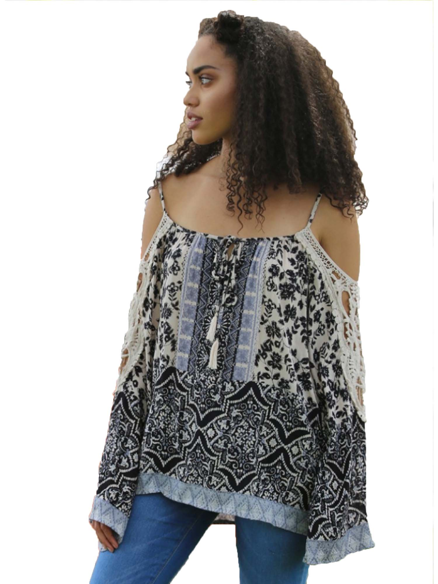 Black with Blue Crochet Sleeve Cold Shoulder Top