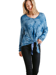Blue Tie-Dye Lightweight Long Sleeve Top with Front Tie