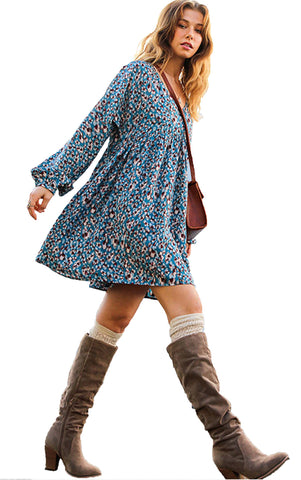 Blue Animal Print Long Puff Sleeve V-Neck Babydoll Dress