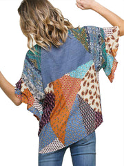 Blue Mixed Print Round Neck Heathered Knit Top