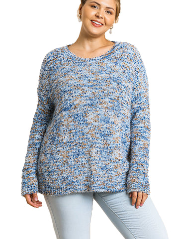 Blue Mocha Multicolor Boucle Long Sleeve Pullover Sweater