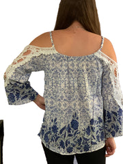 Blue and White Crochet Cold shoulder top