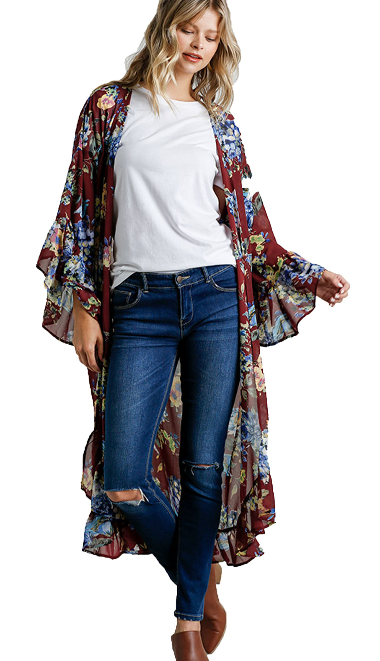 Burgundy Floral Print Open Front Long Kimono with Ruffle Hem