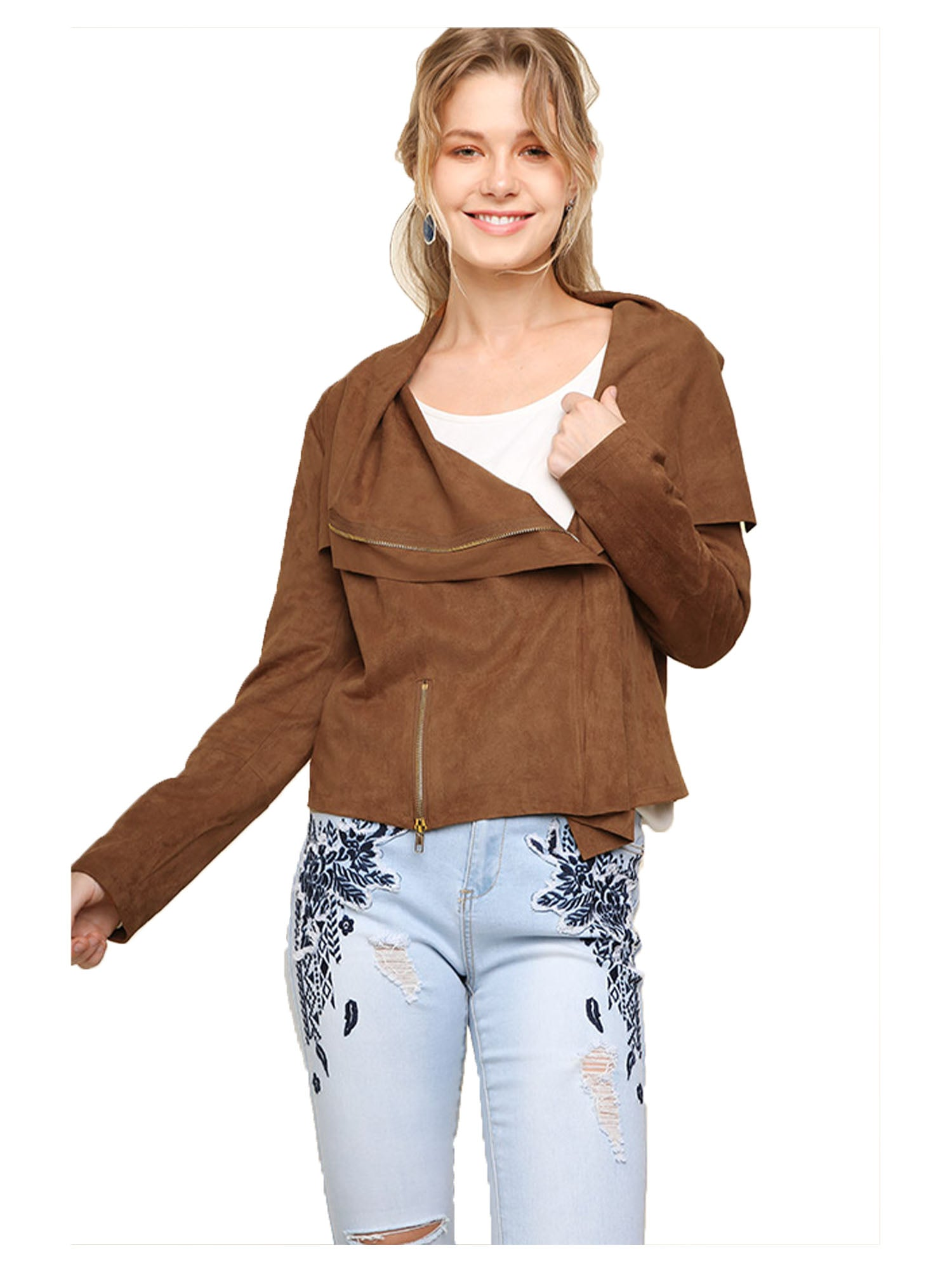 Camel Faux Suede Zip Up Moto Jacket