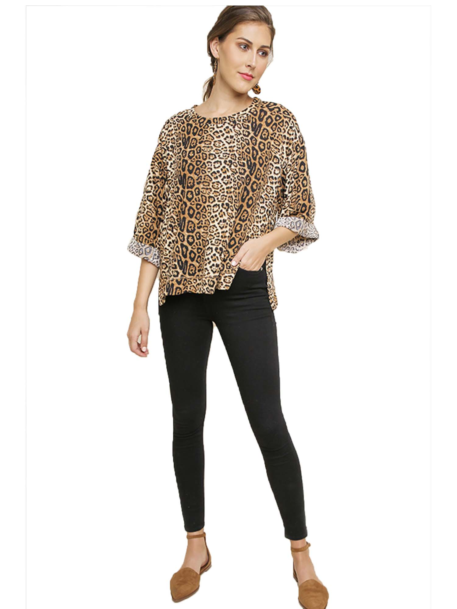 Camel Jaguar Print Cuffed Sleeve Top with Side Slits