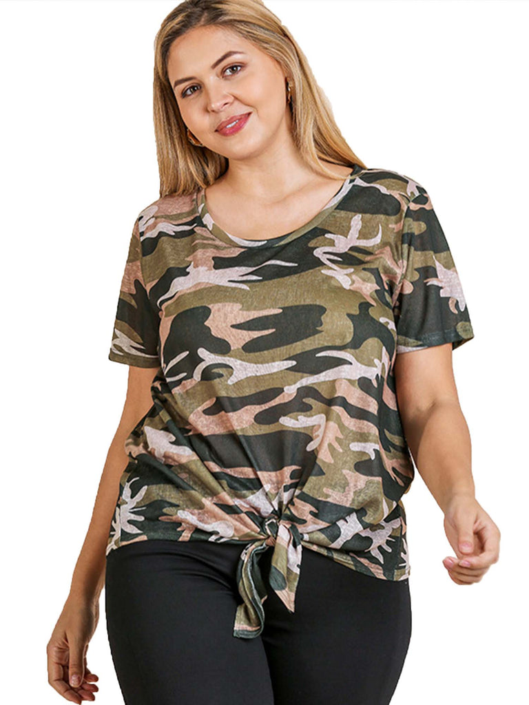 Camo Print Short Sleeve Round Neck Top with Front Knot