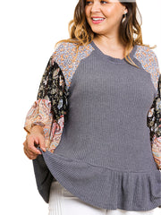 Charcoal Floral Paisley Mixed Print Bell Sleeve Waffle Knit Top with Ruffle Trim