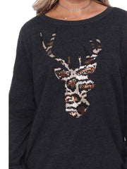 Charcoal Leopard sequin Reindeer sweater top