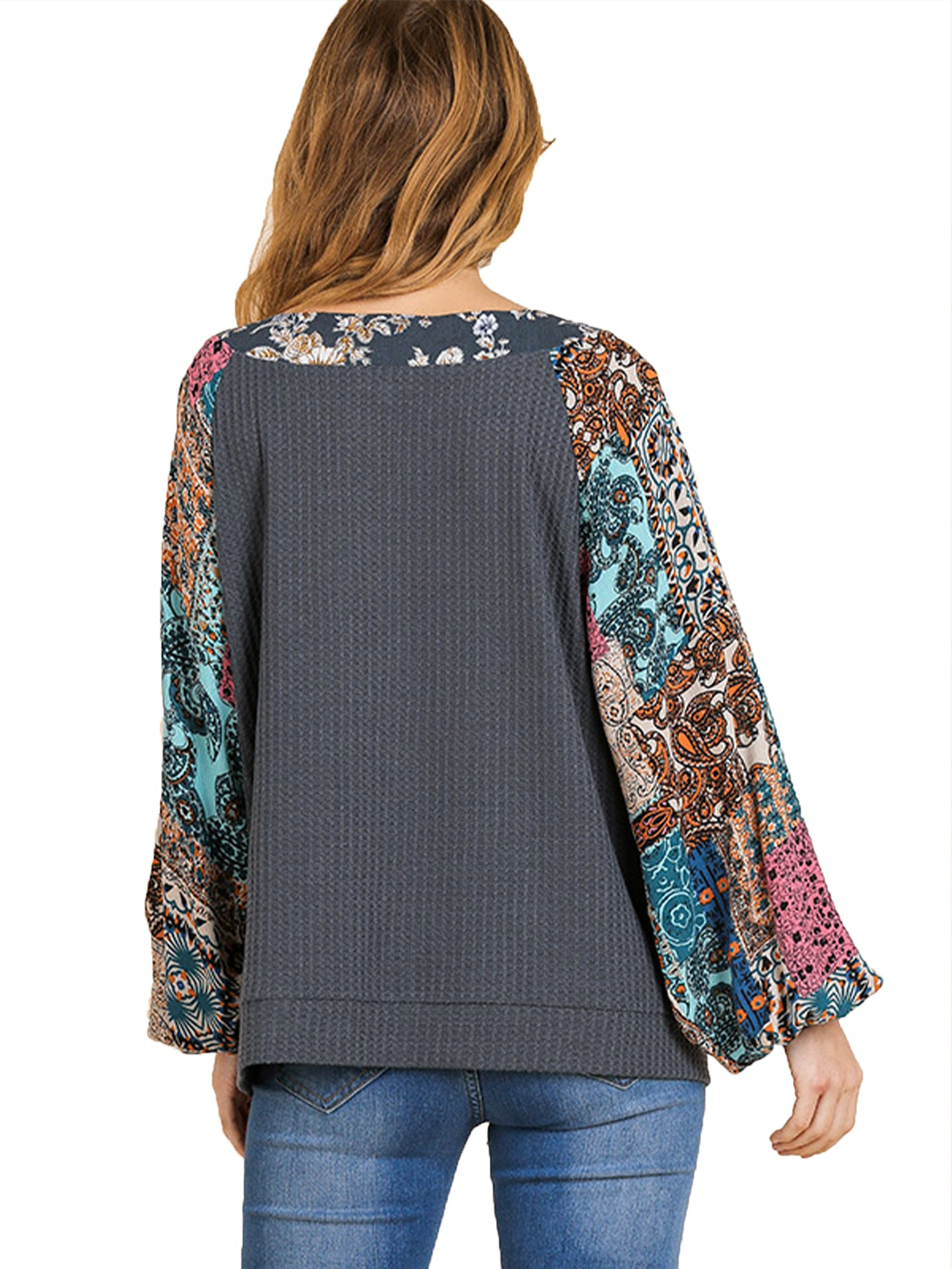 Umgee Women's Charcoal Waffle Knit Top with Floral Print Puff Sleeves