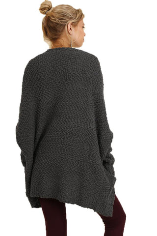 Umgee Women's CHARCOAL Open Front Cardigan Sweater