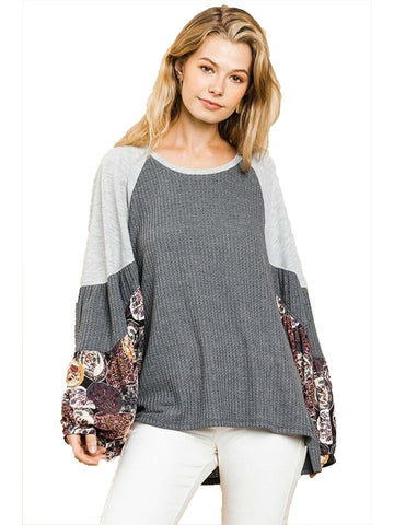Charcoal Waffle Knit Top with Floral Print Puff Sleeves