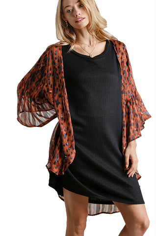 Cinnamon Sheer Animal Print Bell Sleeve Open Front Kimono with Metallic Threading