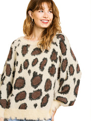 Cream Animal Print Long Puff Sleeve Fuzzy Soft Knit Round Neck Pullover Sweater