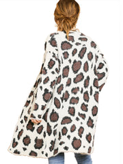 Cream Animal Print Long Sleeve Fuzzy Long Open Front Sweater Cardigan