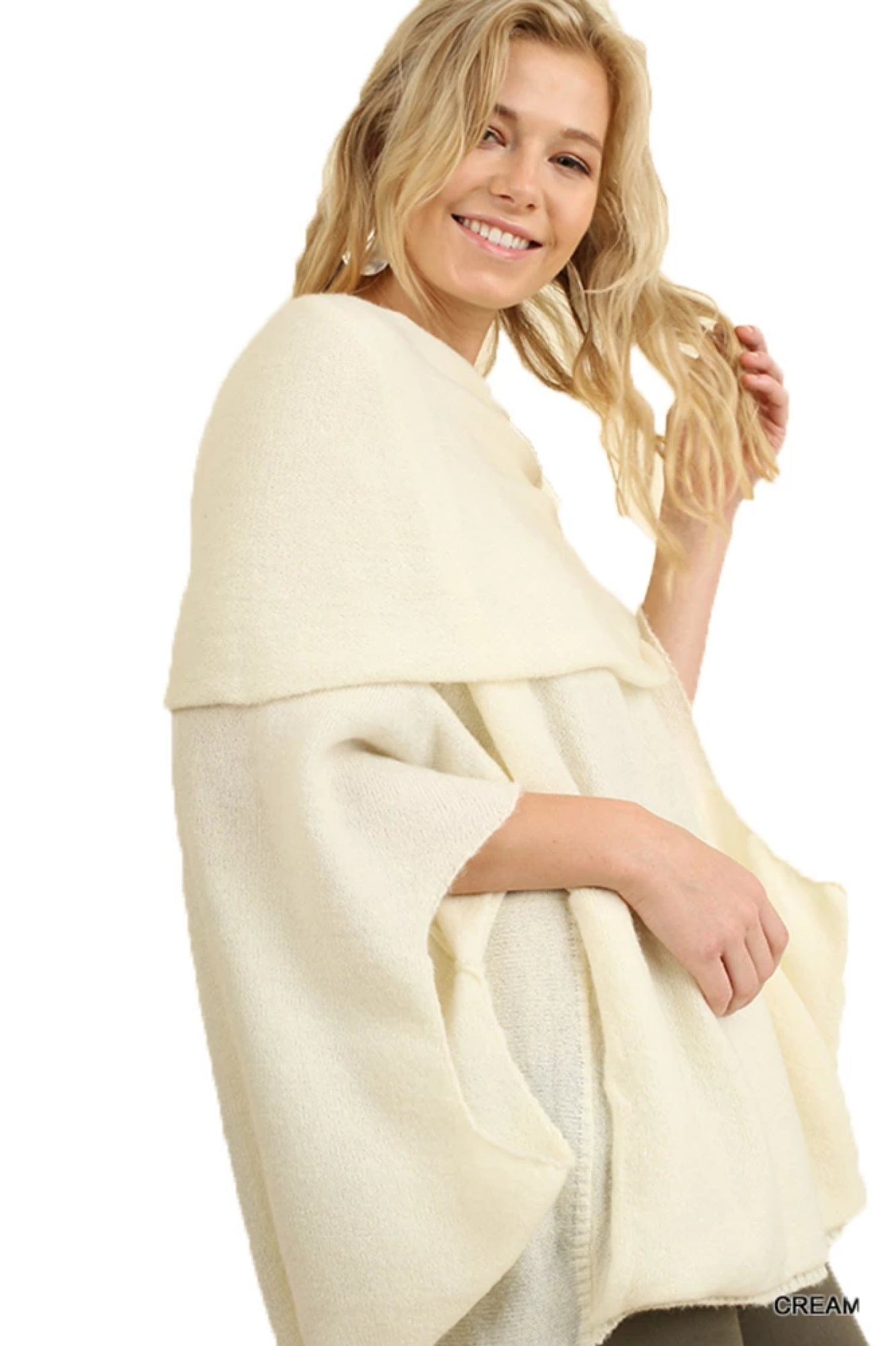 Women's Cream Cowl Neck Kaftan Cozy Pull Over Sweater