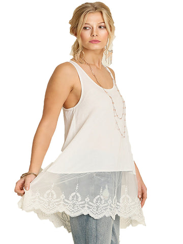 Cream Soft Lace Bottom Tank
