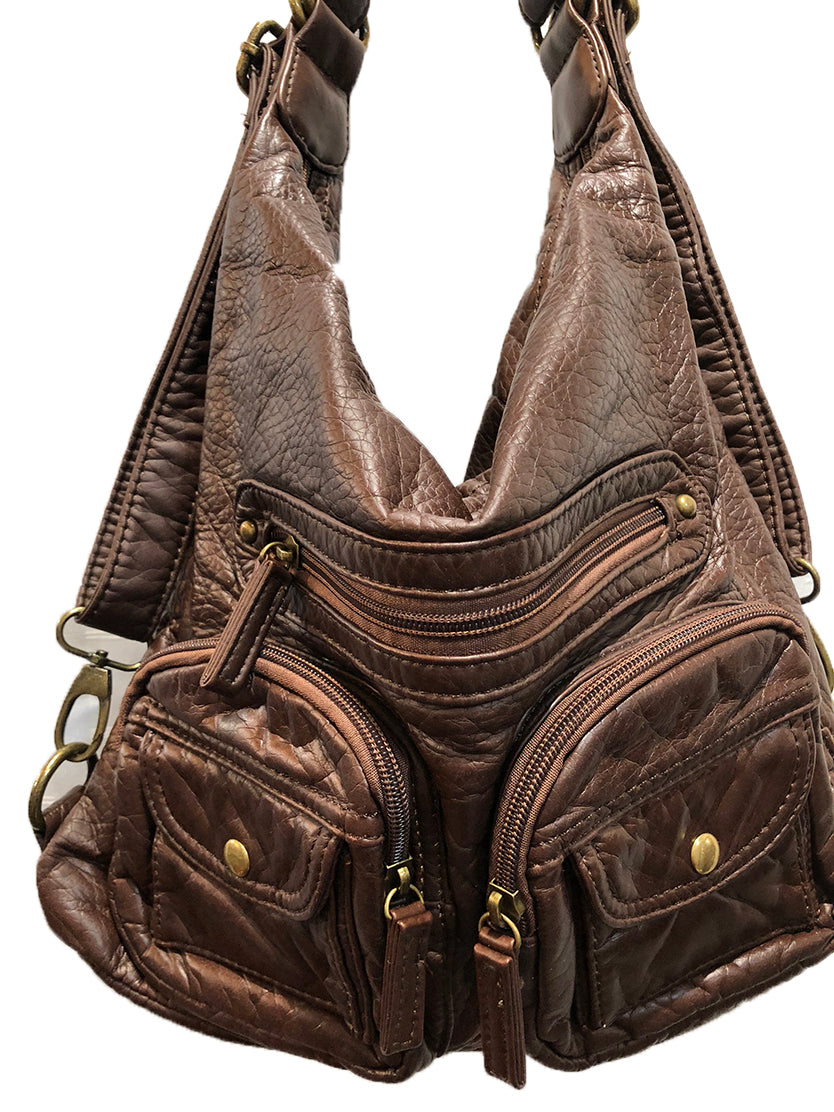 Women's Vegan Leather Convertible Shoulder Bag / Backpack /Crossbody Bag in Many Colors