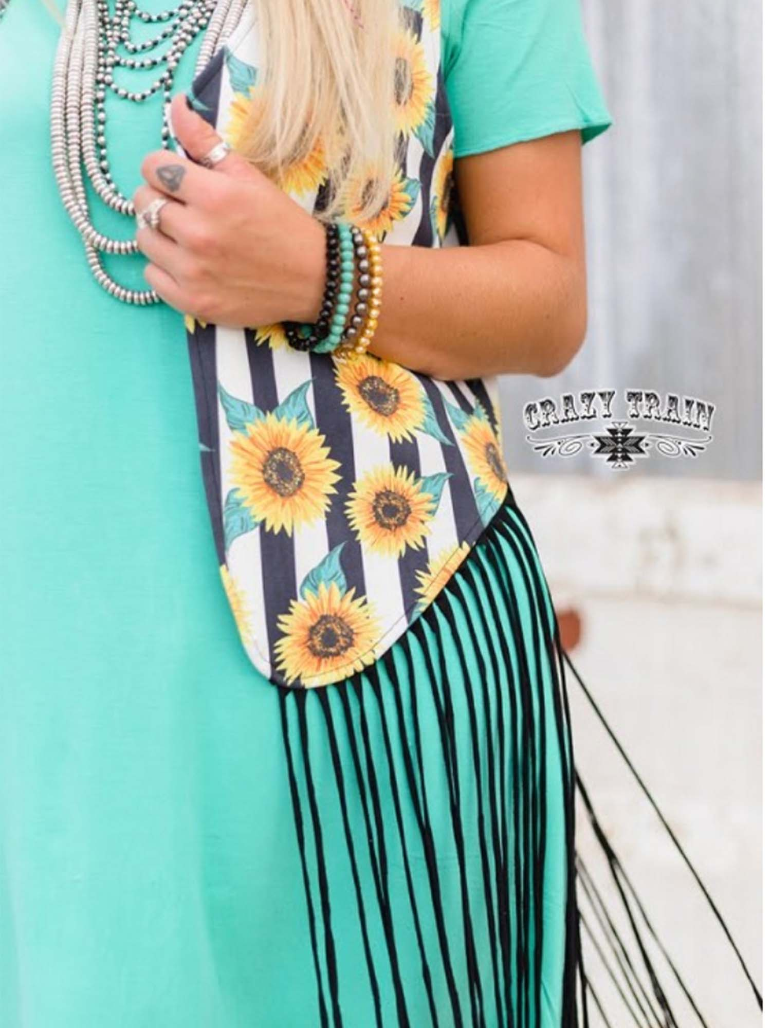 Fly Away Sunflower Fringe Vest